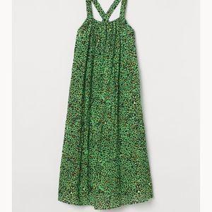 A-line green leopard print maxi dress - NWT